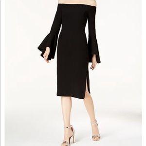 Green off-shoulder dress | Bell sleeve | Bardot